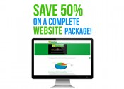 """50 percent off website image with green and blue lettering"""