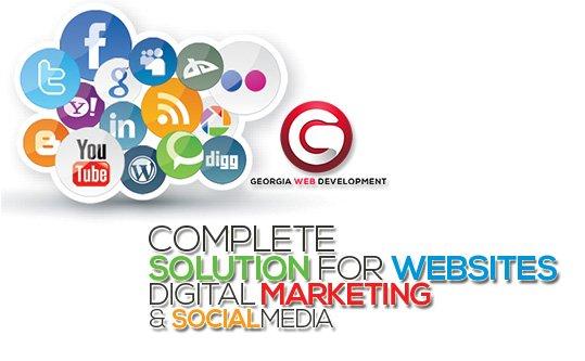 image of colorful social media logos georgia web development