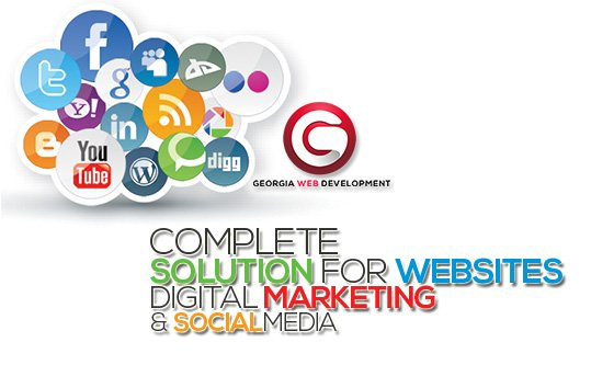 image of colorful social media logos georgia web development