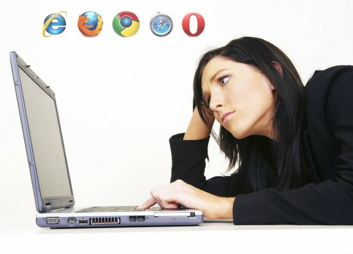 image of lady showing frustration with a do it yourself website builder slouching over a laptop computer georgia web development