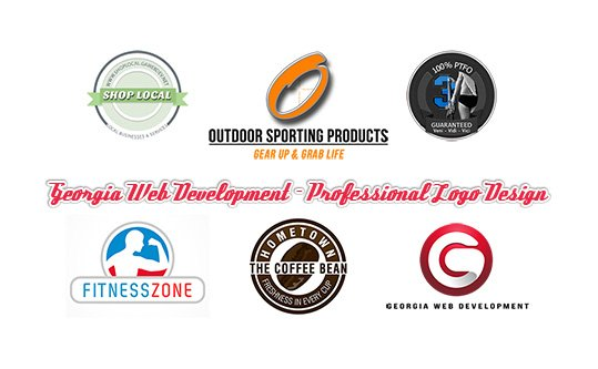 various colorful small business logos and graphics designed by georgia web development