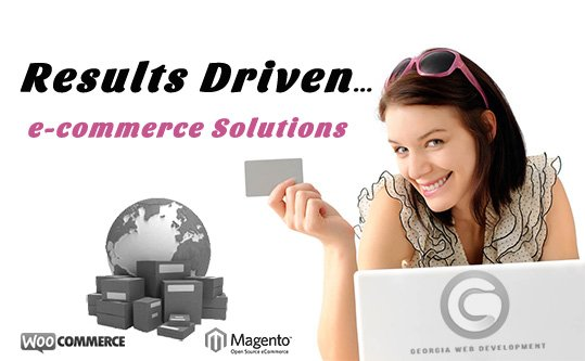 ecommerce software solutions lady shopping online on computer georgia web development